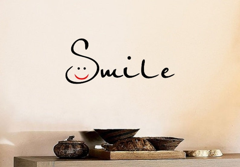 Smile Wall Decal Diy Home Decor Quote Wall Decal Motivational Etsy