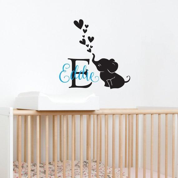 Custom Nursery Wall Decal Name Monogram And Elephant Kids Decal Baby Crib Decor