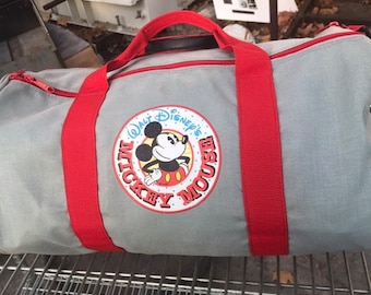 a60c7acbf17 TrueVintage Walt Disney Mickey Mouse Duffle Bag - Sack Red and Gray Very  Rare