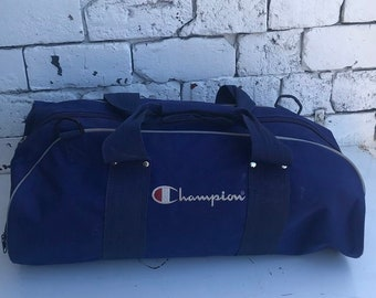 e52e63f47459 Vintage 1990s CHAMPION Canvas Duffle Gym Bag