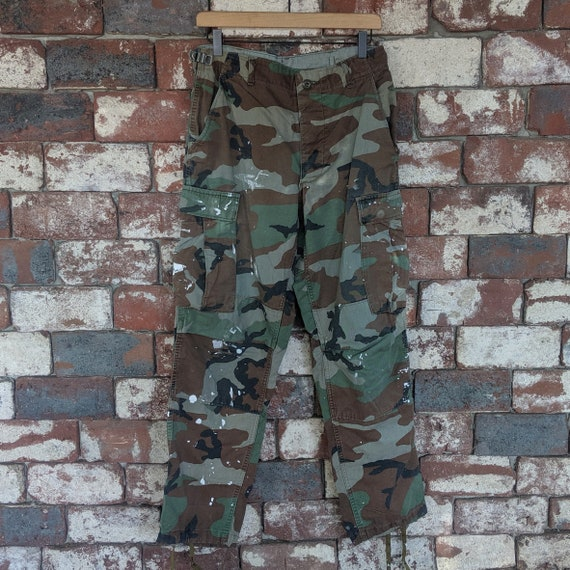Vintage painted camouflage cargo pants