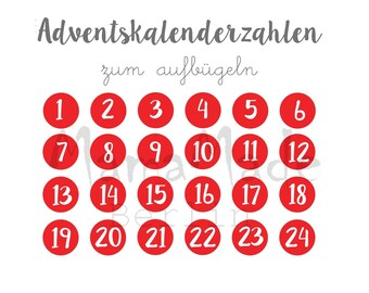 Advent calendar numbers Ironing pictures to iron on fabric