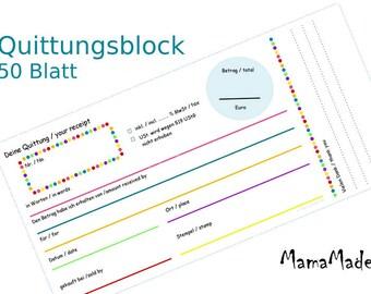 Receipt block 50 sheets