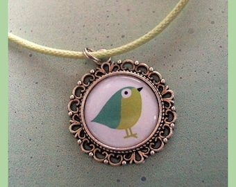 Spring birds in green knot chain