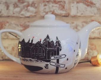Personalised Wedding Gift Teapot Tea Set Venue Mr & Mrs Tea Cups - Deposit Only