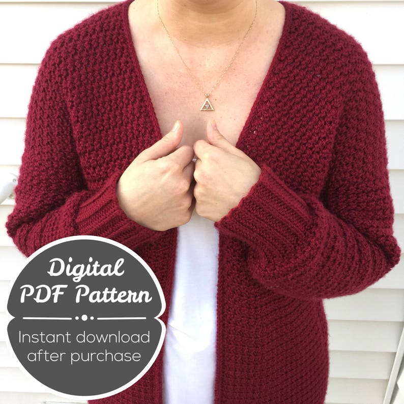 CROCHET PATTERN: Crochet Cardigan Pattern Instant Download image 0