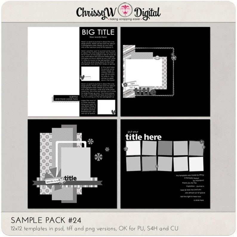 Sample Pack 24  12x12 Digital Scrapbooking Templates image 0