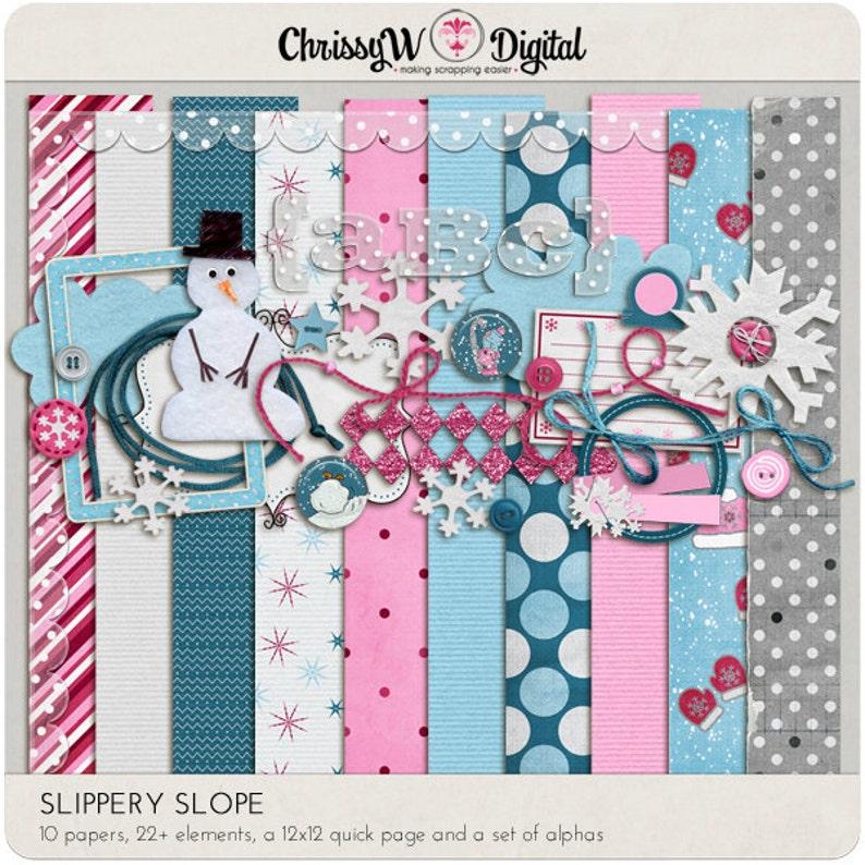 Slippery Slope Kit for Digital Scrapbooking image 0