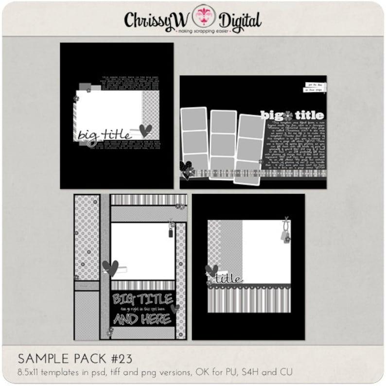 Sample Pack 23  8.5x11 Digital Scrapbooking Templates image 0