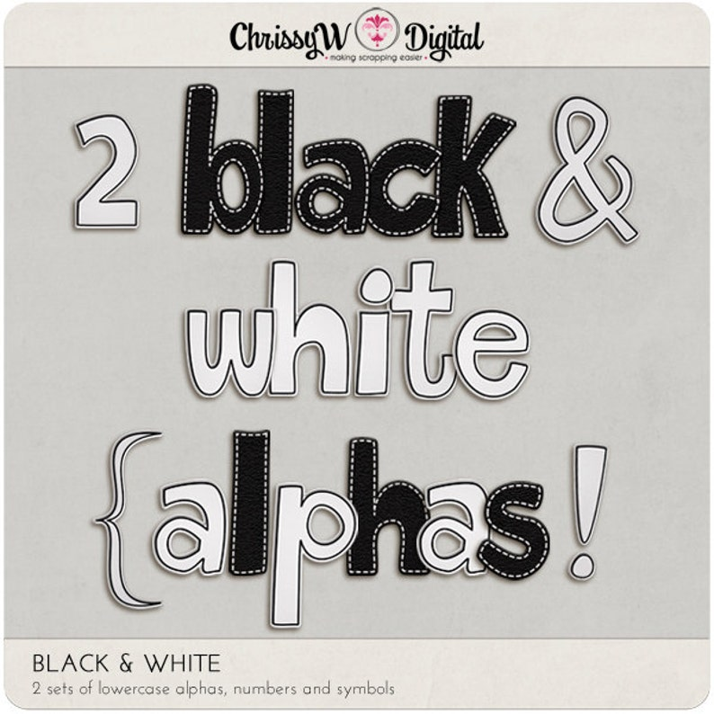 Black & White Alphas  Digital Scrapbooking Letters image 0