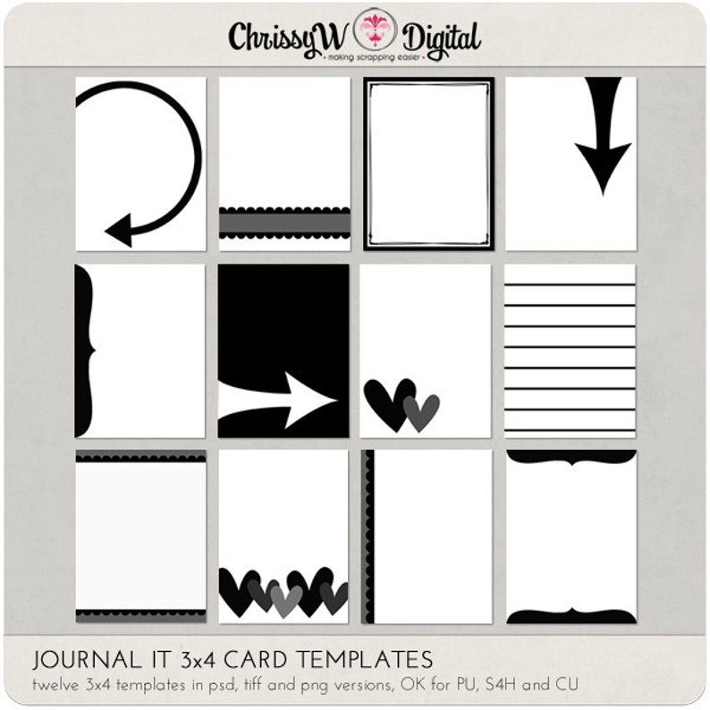 Journal It 3x4 Card Templates for Digital Scrapbooking image 0