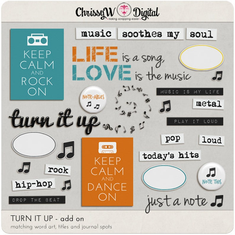Turn It Up  Word Art & Titles for Digital Scrapbooking image 0