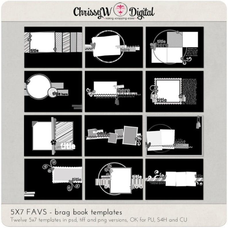 5x7 FAVS Mini Album Brag Book Digital Scrapbooking Templates image 0