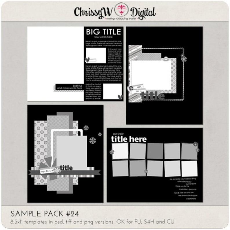Sample Pack 24  8.5x11 Digital Scrapbooking Templates image 0