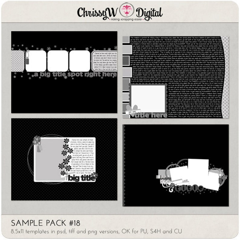 Sample Pack 18  8.5x11 Digital Scrapbooking Templates image 0