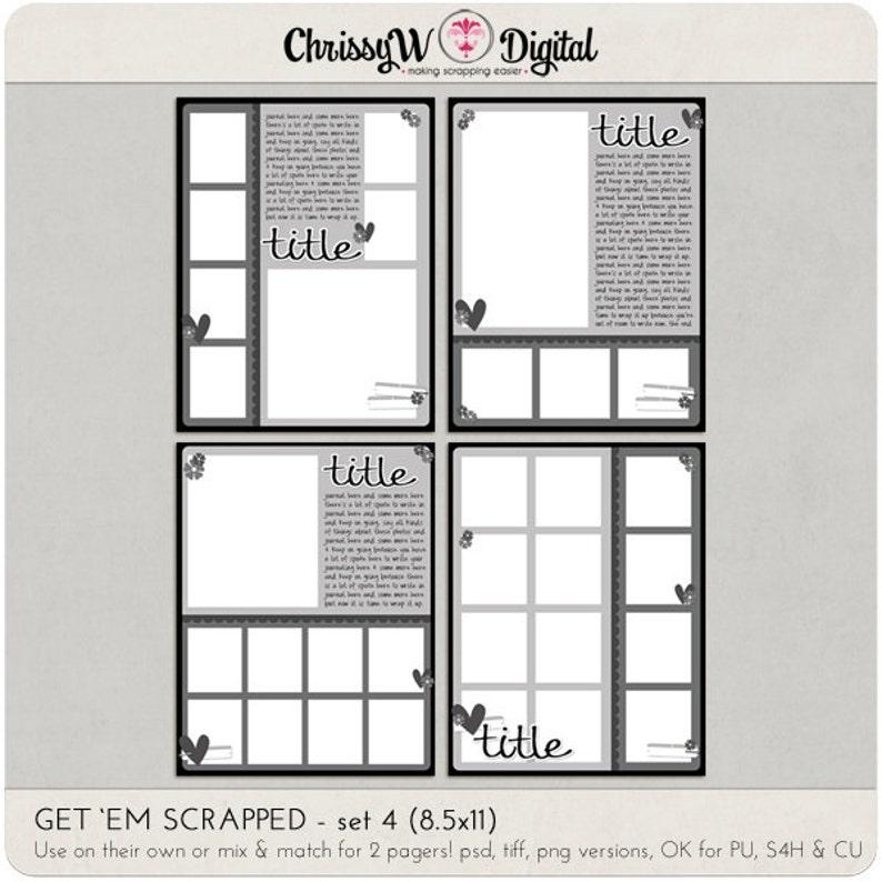 Get 'em Scrapped Set 4 - 8 5x11 Digital Scrapbooking Templates