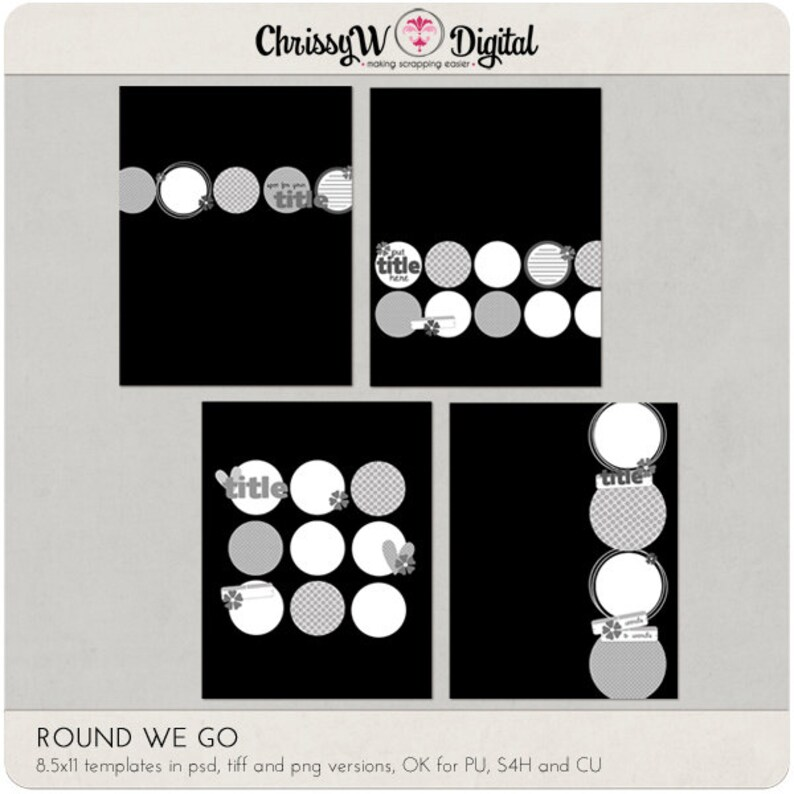 Round We Go Circles 8.5x11 Digital Scrapbooking Templates image 0