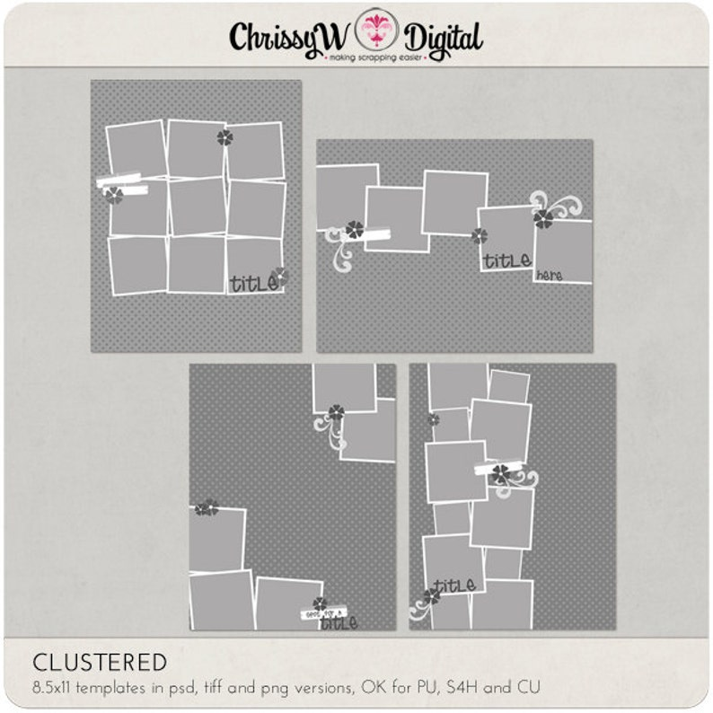 Clustered  8.5x11 Digital Scrapbooking Templates image 0