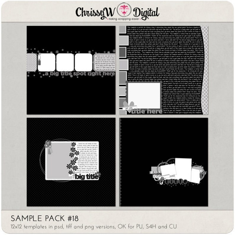 Sample Pack 18  12x12 Digital Scrapbooking Templates image 0