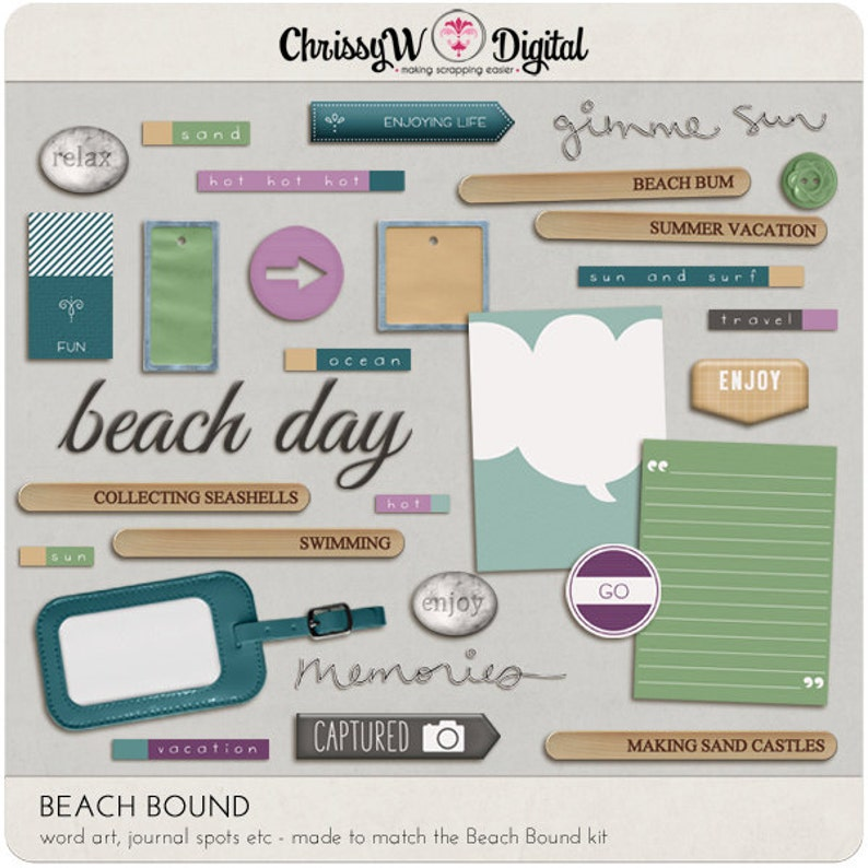 Beach Bound  Word Art & Titles for Digital Scrapbooking image 0