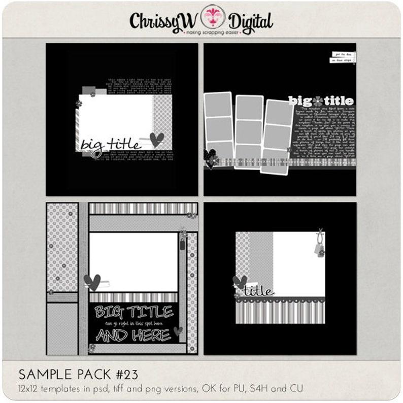 Sample Pack 23  12x12 Digital Scrapbooking Templates image 0