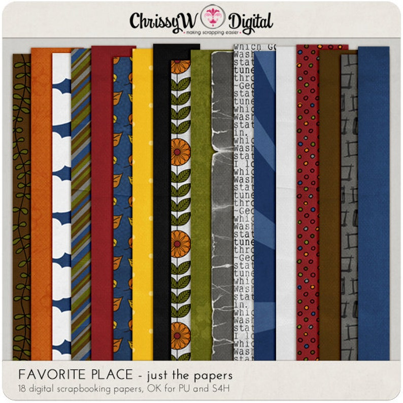 Favorite Place Digital Scrapbooking Paper Papers image 0