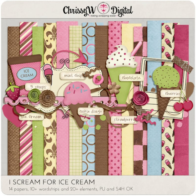 I Scream for Ice Cream Kit  Papers & Elements for Digital image 0