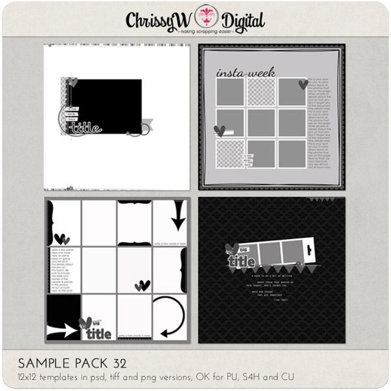 Sample Pack 32  12x12 Digital Scrapbooking Templates image 0