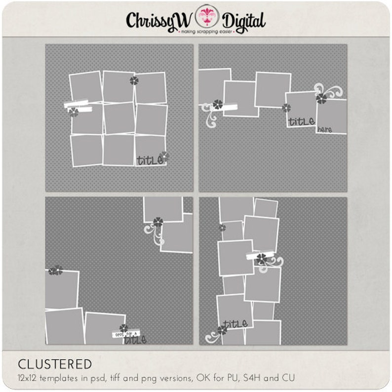Clustered  12x12 Digital Scrapbooking Templates image 0