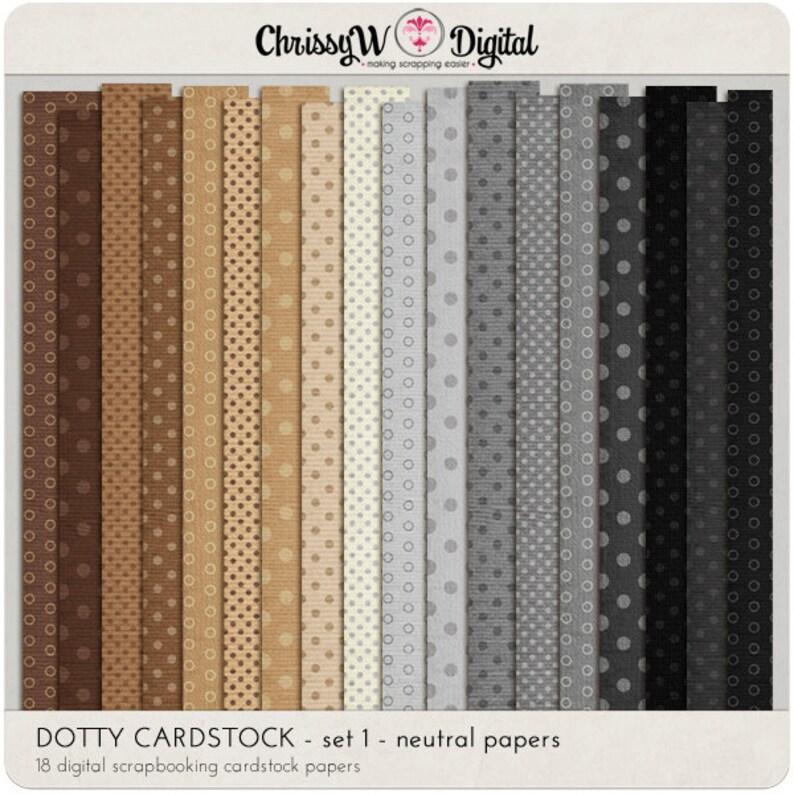 Dotty Cardstock Set 1 neutrals  Digital Scrapbooking Papers image 0