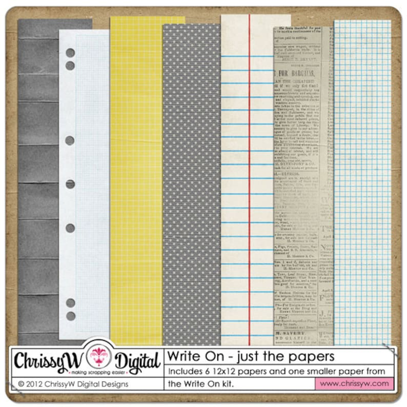Write On  Papers for Digital Scrapbooking image 0