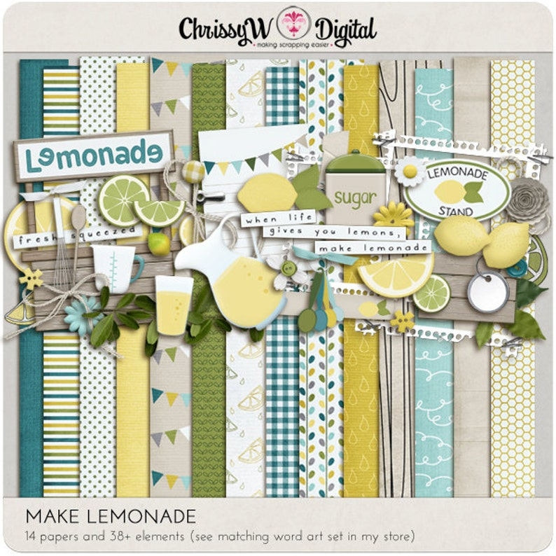 Make Lemonade Kit  Papers & Elements for Digital Scrapbooking image 0