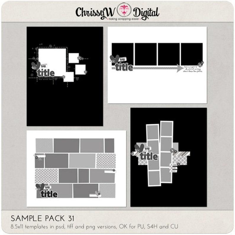 Sample Pack 31  8.5x11 Digital Scrapbooking Templates image 0