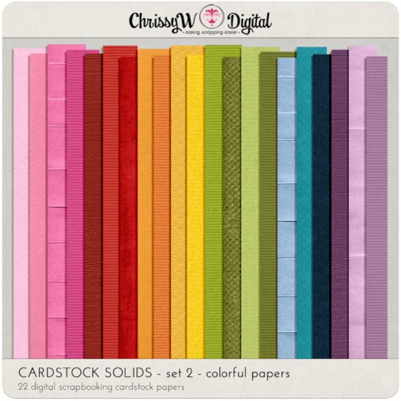 Cardstock Solids Set 2  Digital Scrapbooking Papers image 0