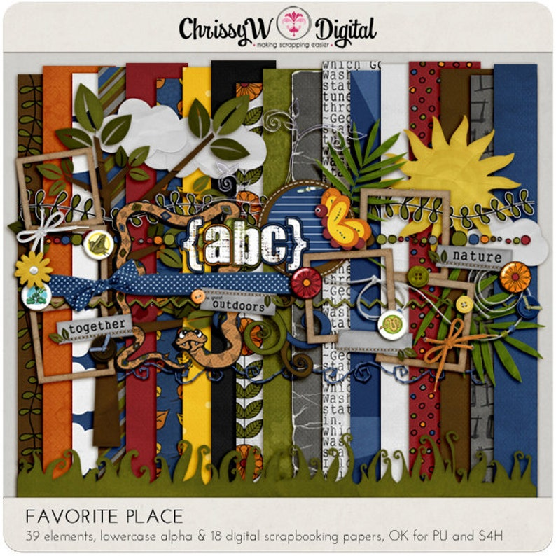 Favorite Place Digital Scrapbooking Kit Papers Alphas image 0