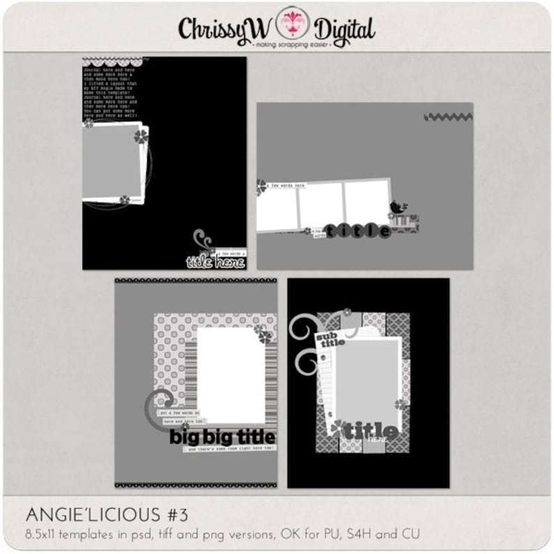 Angie'licious Set 3  8.5x11 Digital Scrapbooking image 0