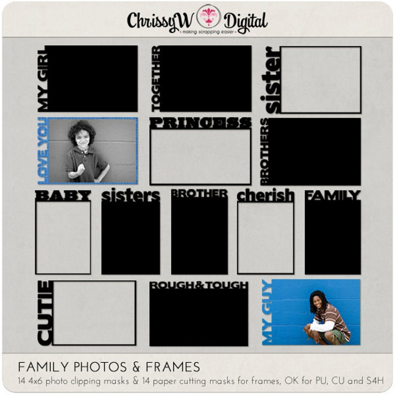 Family Photo & Frame Cutting Masks for Digital Scrapbooking image 0