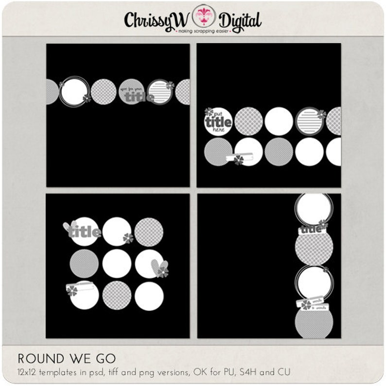 Round We Go Circles 12x12 Digital Scrapbooking Templates image 0