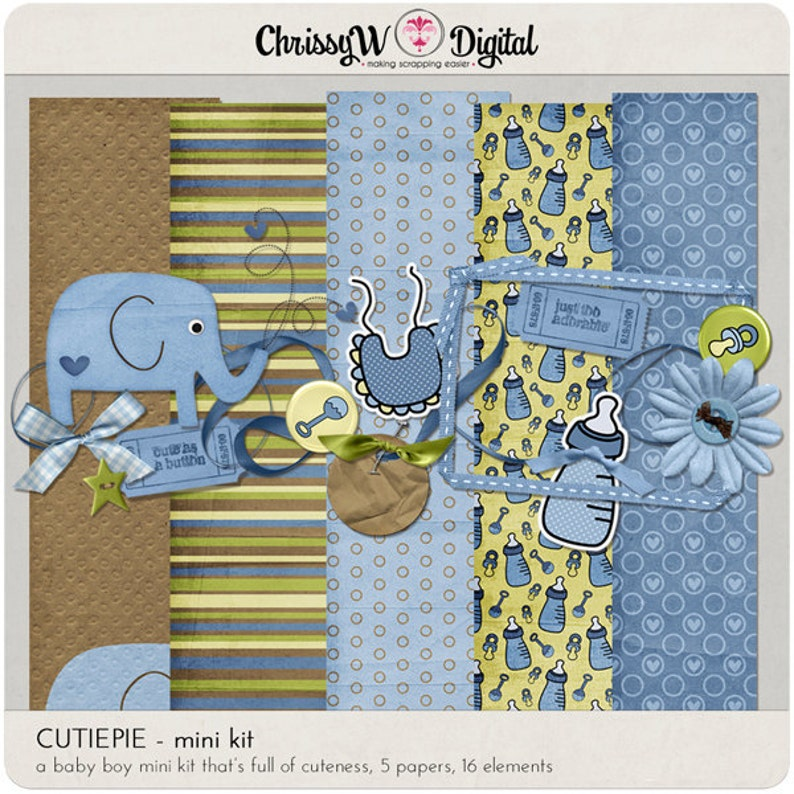 CutiePie Baby Boy Digital Scrapbooking Kit Papers & Elements image 0
