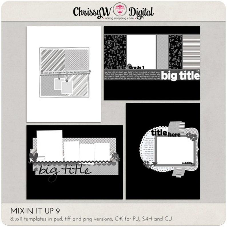 Mixin It Up 9  8.5x11 Digital Scrapbooking Templates image 0