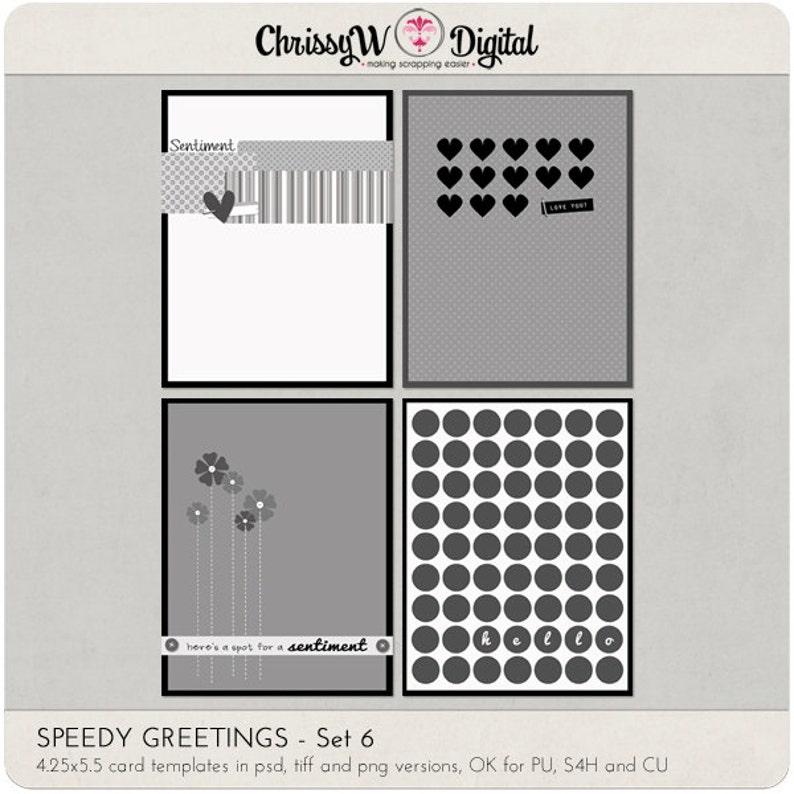Speedy Greetings Set 6 Digital Scrapbooking Card Templates image 0