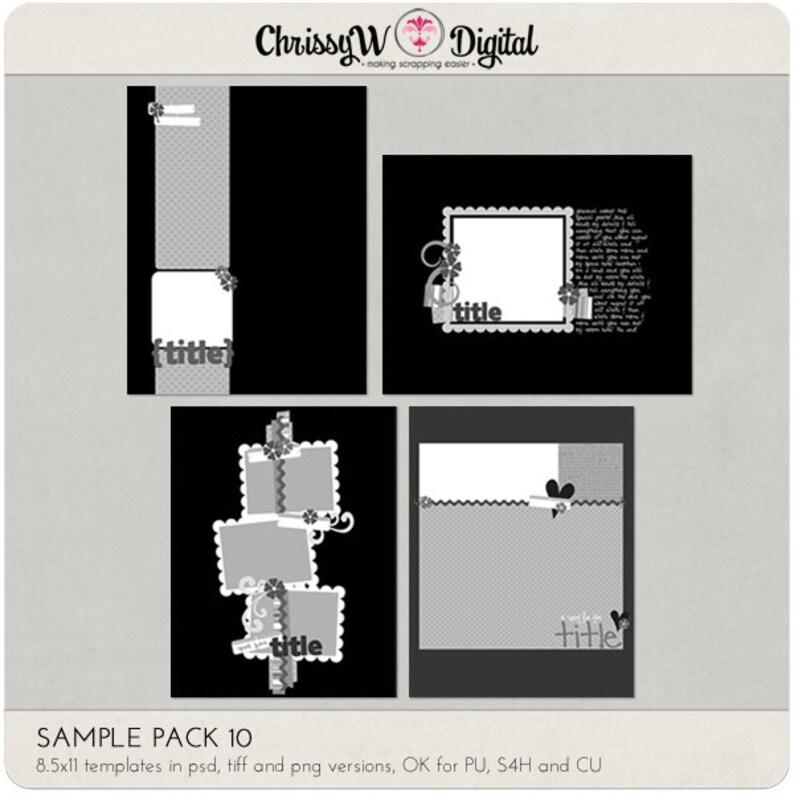 Sample Pack 10  8.5x11 Digital Scrapbooking Templates image 0
