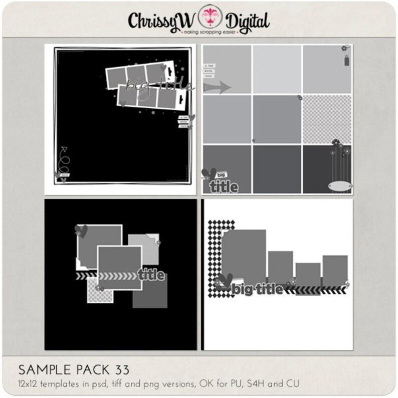 Sample Pack 33  12x12 Digital Scrapbooking Templates image 0