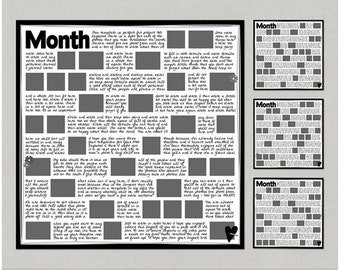 P365 Monthly Review 12x12 Digital Scrapbooking Templates