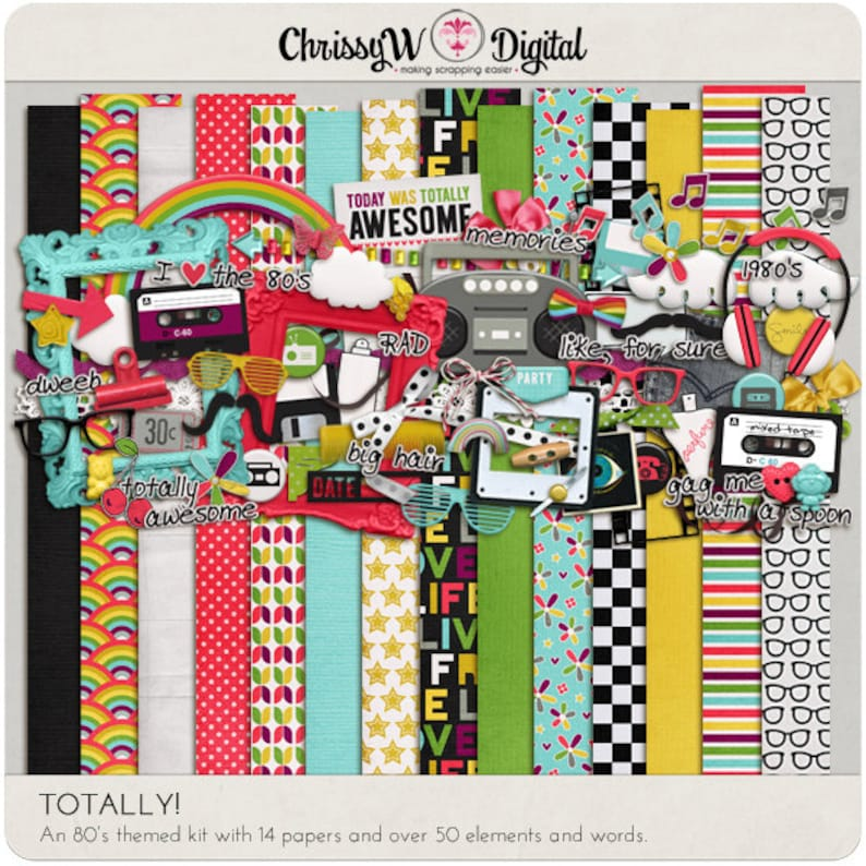 Totally 80's  Papers & Elements for Digital Scrapbooking image 0