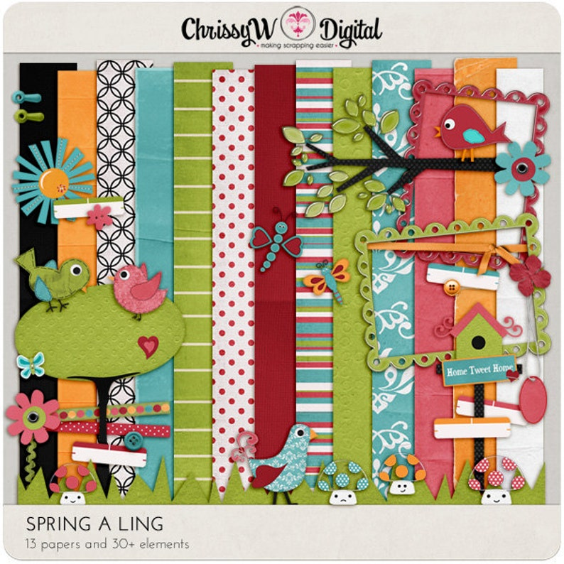 Spring-A-Ling Kit  Papers & Elements for Digital Scrapbooking image 0