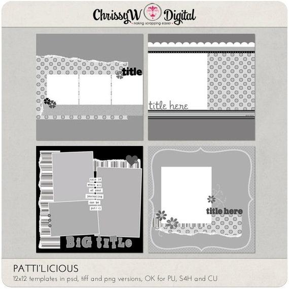 Pattilicious 12x12 digital scrapbooking templates etsy image 0 maxwellsz