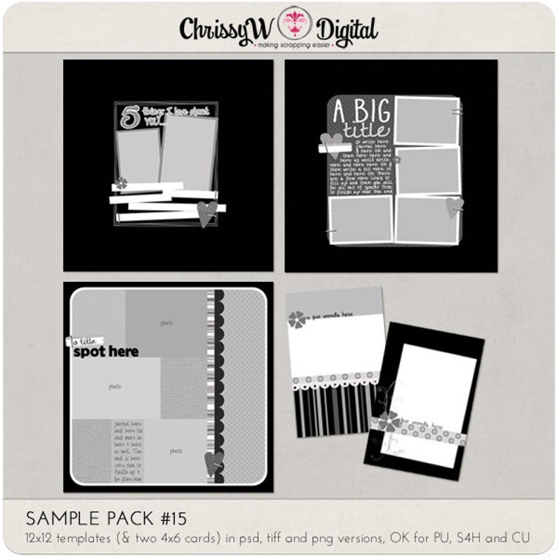Sample Pack 15  12x12 Digital Scrapbooking Templates image 0
