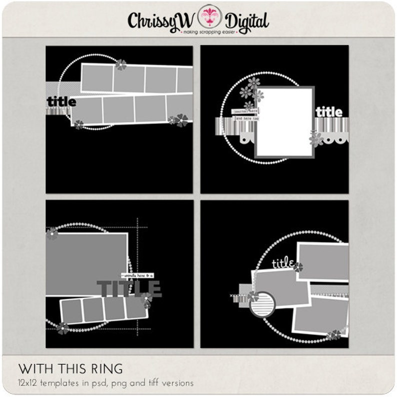 With This Ring 12x12 Digital Scrapbooking Templates image 0
