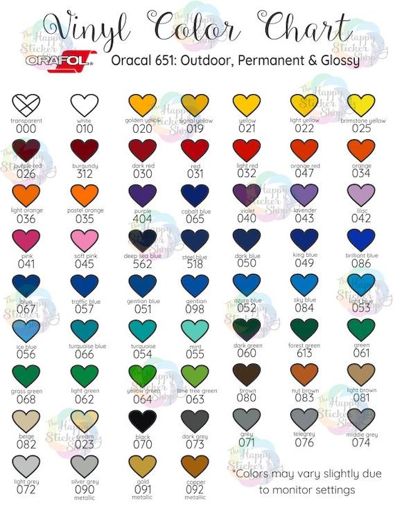 Vinyl Color Chart Digital Download Oracal 651 Outdoor Color Etsy